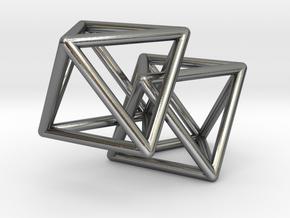 Interlocking Octahedron in Polished Silver (Interlocking Parts)