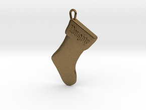 """Naughty"" Christmas Stocking Pendant in Natural Bronze"