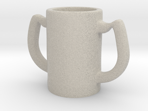 Two handles mug in Natural Sandstone: Small