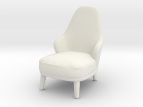 Miniature Minotti Leslie Armchair Long - Minotti in White Natural Versatile Plastic: 1:24