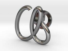 Cursive A Cufflink in Fine Detail Polished Silver