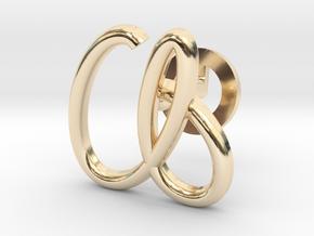 Cursive A Cufflink in 14K Yellow Gold