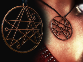 Mystical Cthulhu Symbol Pendant in Polished Bronze Steel