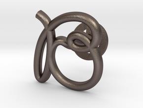 Cursive B Cufflink in Polished Bronzed Silver Steel