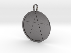 Pentagram Medallion in Polished Nickel Steel