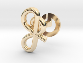 Cursive J Cufflink in 14k Gold Plated Brass