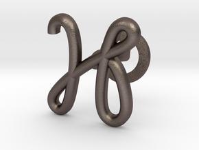 Cursive H Cufflink in Polished Bronzed Silver Steel