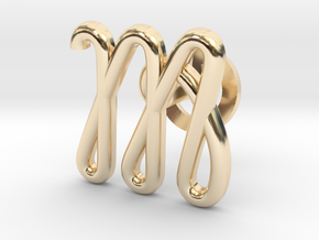 Cursive M Cufflink in 14k Gold Plated Brass