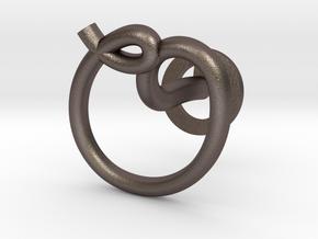 Cursive O Cufflink in Polished Bronzed Silver Steel