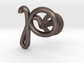 Cursive P Cufflink in Polished Bronzed Silver Steel