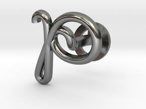 Cursive P Cufflink in Fine Detail Polished Silver