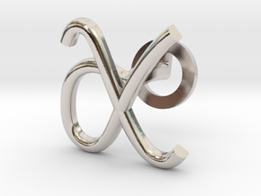 Cursive X Cufflink in Rhodium Plated Brass