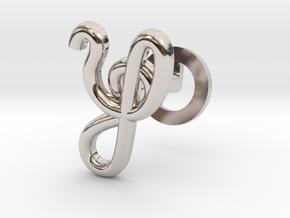 Cursive Y Cufflink in Rhodium Plated Brass