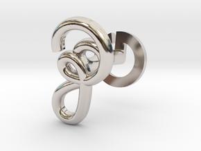 Cursive Z Cufflink in Rhodium Plated Brass