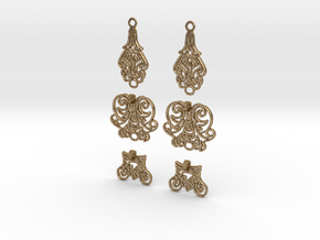 Complex_Earring Pair in Polished Gold Steel