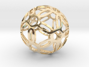 Symmetrical Pattern Sphere in 14k Gold Plated Brass: Medium