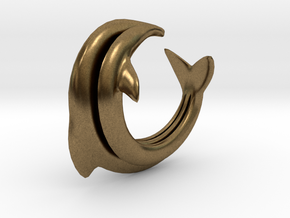 Dolphin Abstract Ring, size 5. Smooth Elegance. in Natural Bronze