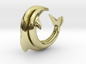 Dolphin Abstract Ring, size 5. Smooth Elegance. in 18k Gold Plated Brass