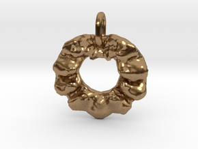 Christmas Wreath Pendant in Natural Brass