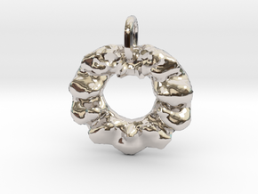 Christmas Wreath Pendant in Rhodium Plated Brass