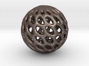 Cat Toy Ball in Polished Bronzed Silver Steel
