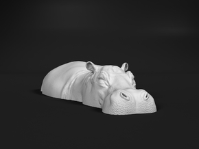 Hippopotamus 1:48 Lying in Water 2 in White Natural Versatile Plastic