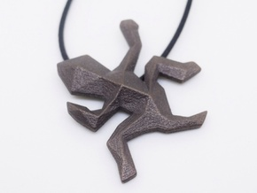 Escher Low Poly Lizard Pendant in Matte Bronze Steel