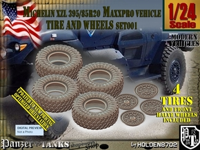 1/24 MaxxPro Mich XZL 395-85R20 Tire-Wheel Set001 in Smooth Fine Detail Plastic