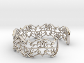 "Bracelet ""fluent"" in Rhodium Plated Brass: Small"