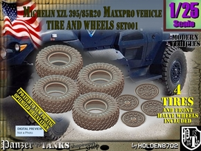 1/25 MaxxPro Mich XZL 395-85R20 Tire-Wheel Set001 in Smooth Fine Detail Plastic
