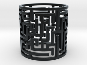 Puzzle Tunnel Ring Size 7.5/55.5  in Black Hi-Def Acrylate: 7.5 / 55.5