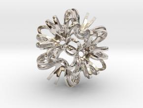 Outward Deformed Symmetrical Sphere Version 2 in Rhodium Plated Brass: Medium