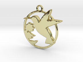 Humming-bird & hibiscus in 18k Gold Plated Brass