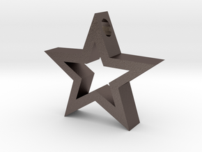 Star pendant. in Polished Bronzed Silver Steel