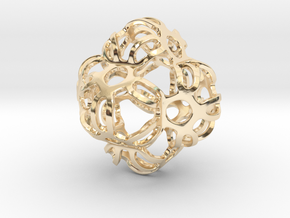 Symmetrically Deformed Cuboid in 14K Yellow Gold: Medium