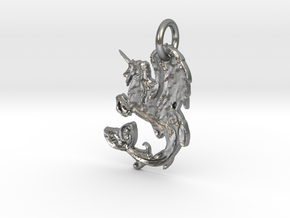 Sea Ocean Unicorn Winged Pegasus Horse in Natural Silver: Extra Large
