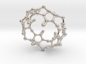 Cucurbituril CB[6] Molecule Pendant Small in Rhodium Plated Brass