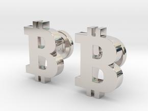 Bitcoin Cufflinks in Platinum