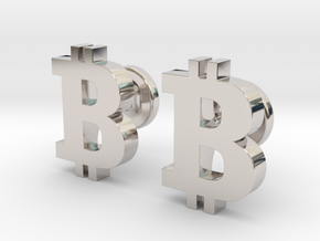 Bitcoin Cufflinks in Rhodium Plated Brass