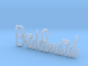 Bridesmaid Heart Pendant in Smooth Fine Detail Plastic