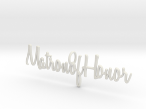 Matron of Honor Necklace Pendant in White Natural Versatile Plastic