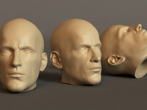 Generic Male Head 1/6 scale figure  - Variant 06 in White Natural Versatile Plastic: Small