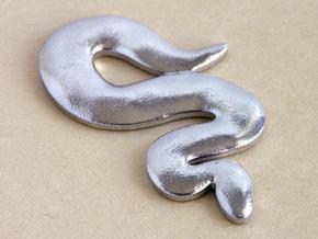 Snake Pendant - silver in Polished Bronzed Silver Steel