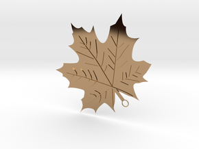 Maple Leaf Pendant in Polished Brass