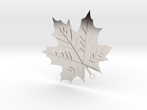 Maple Leaf Pendant in Rhodium Plated Brass