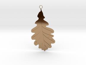 Oak Leaf Pendant in Polished Brass