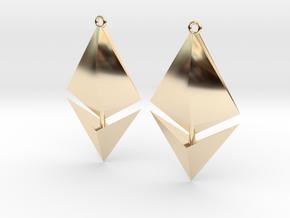 Ethereum Earring Pendants in 14K Yellow Gold