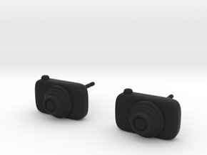 Camera Earrings in Black Natural Versatile Plastic