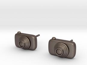 Camera Earrings in Polished Bronzed Silver Steel