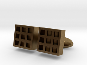 Square Cell Cufflinks in Natural Bronze